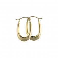 9ct Gold Plain Oval  Creole Earrings