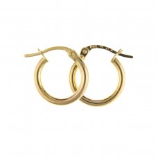 9ct Gold Plain Round  Creole Earrings 0.90gms