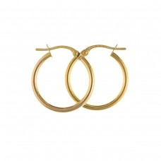 9ct Gold Plain Round  Creole Earrings 1.70gms