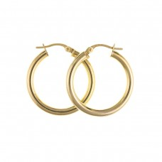 9ct Gold Plain Round  Creole Earrings 1.23gms
