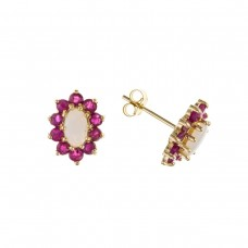 9ct Gold Real Opal And Ruby Stud Earrings
