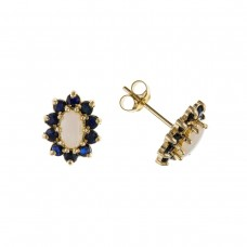 9ct Gold Real Opal And Sapphire Stud Earrings