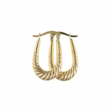 9ct Gold Ribbed Oval Creole Earrings