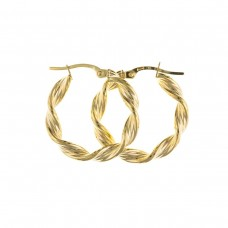 9ct Gold Ribbon Twist Round Creole Earrings
