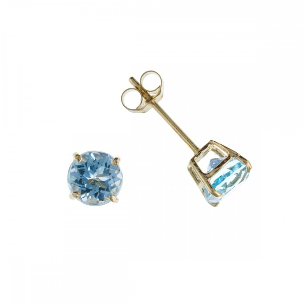 jewellers topaz yellow gold stud blue earrings browns family jewellery from image