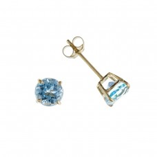 9ct Gold Round Blue Topaz Stud Earrings