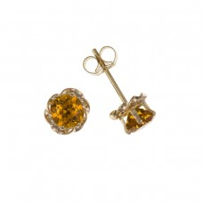 9ct Gold Round Citrine Stud Earrings