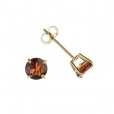 9ct Gold Round Garnet Stud Earrings