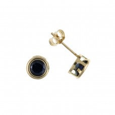 9ct Gold Round Sapphire Stud Earrings 0.27gms