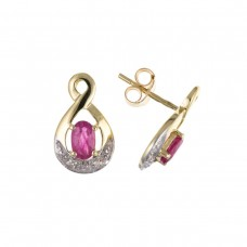 9ct Gold Ruby And Diamond Stud Earrings