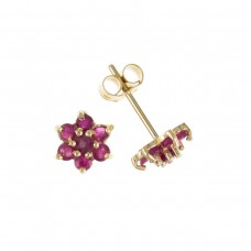 9ct Gold Ruby Cluster Stud Earrings