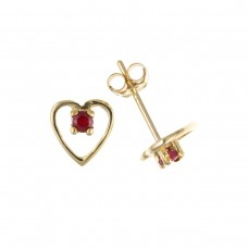 9ct Gold Ruby Open Heart Stud Earrings