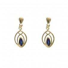 9ct Gold Sapphire Celtic Style Drop Earrings