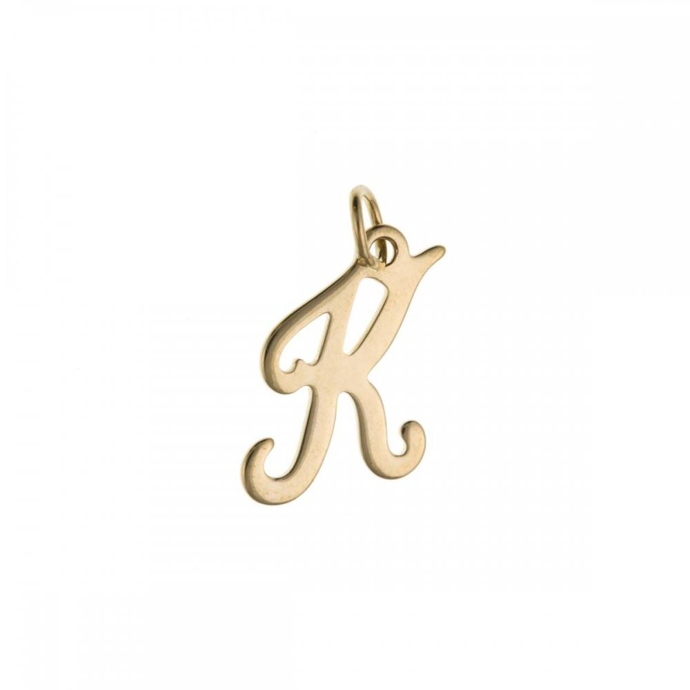 9ct Yellow Gold Script Initial K Charm Pendant w2aqhlGk