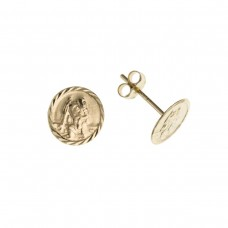 9ct Gold St Christopher Stud Earrings