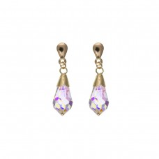 9ct Gold Teardrop Crystal Drop Earrings