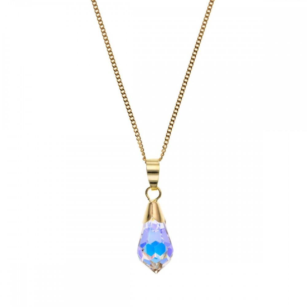 9ct gold teardrop crystal pendant and 18 curb chain aloadofball Image collections