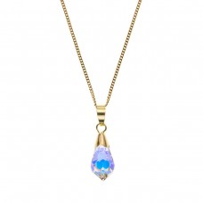 9ct Gold Teardrop Crystal Pendant And 18'' Curb Chain