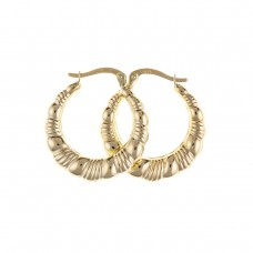 9ct Gold Textured Round Creole Earrings
