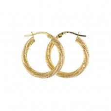 9ct Gold Textured Twist Round Creole Earrings