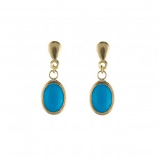 9ct Gold Oval Turquoise Drop Earrings