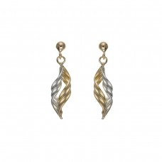 9ct Two Colour Gold Twist  Drop Earrings