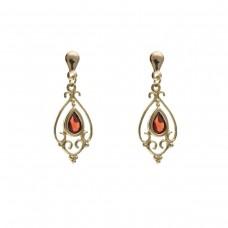 9ct Gold Victorian Style Garnet Drop Earrings