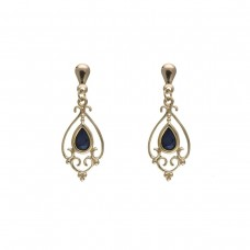 9ct Gold Victorian Style Sapphire Drop Earrings