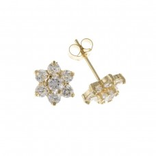 9ct Gold White Cubic Zirconia Cluster Stud Earrings