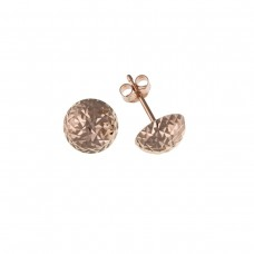 9ct Rose Gold Diamond Cut Dome Stud Earrings (Backed)