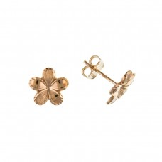 9ct Rose Gold Flower Stud Earrings
