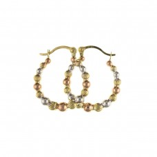 9ct Three Colour Gold Beaded Round Creole Earrings