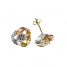 9ct Three Colour Gold Cubic Zirconia Knot Stud Earrings