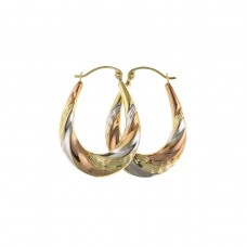 9ct Three Colour Gold Diamond Cut Oval Creole Earrings