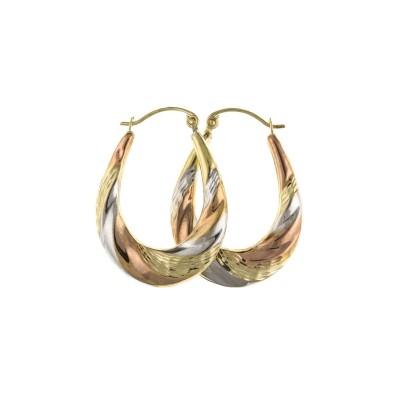 9ct Three Colour Gold Diamond Cut Oval Creole Earrings