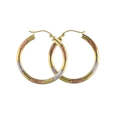 9ct Three Colour Gold Diamond Cut Round Creole Earrings