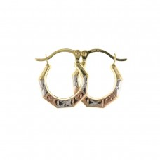 9ct Three Colour Gold Hexagonal Creole Earrings