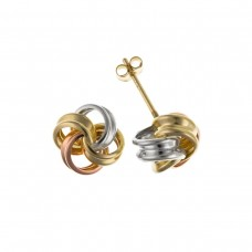 9ct Three Colour Gold Knot Stud Earrings 0.68gms