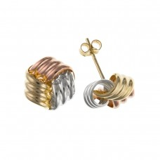 9ct Three Colour Gold Knot Stud Earrings 0.26gms