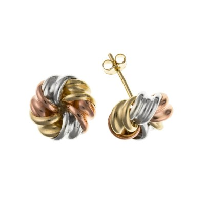 9ct Three Colour Gold Knot Stud Earrings 0.42gms