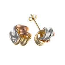 9ct Three Colour Gold Knot Stud Earrings 0.45gms