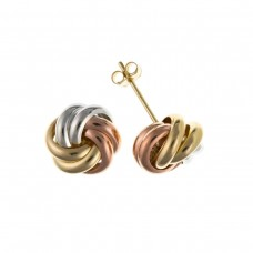 9ct Three Colour Gold Knot Stud Earrings 0.92gms