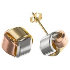 9ct Three Colour Gold Knot Stud Earrings 0.58gms