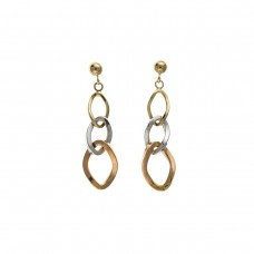 9ct Three Colour Gold Open Drop Earrings 1.65gms
