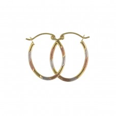 9ct Three Colour Gold Oval Creole Earrings 0.48gms