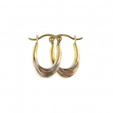 9ct Three Colour Gold Oval Creole Earrings 0.31gms