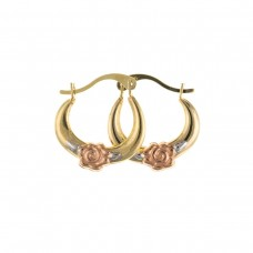 9ct Three Colour Gold Rose Creole Earrings