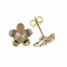9ct Three Colour Gold Satin And Plain Flower Stud Earrings
