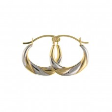 9ct Two Colour Gold Creole Earring