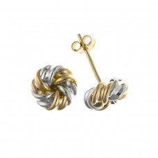 9ct Two Colour Gold Knot Stud Earrings
